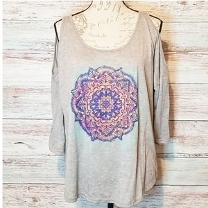 Jessica Simpson top gray off shoulder long sleeve